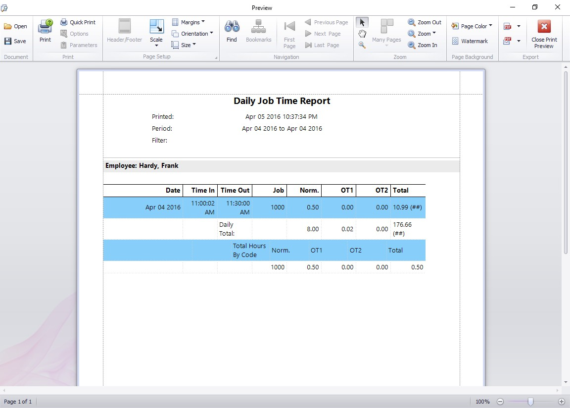 Daily Job Time Report - Time Clock MTS Documentation