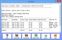 Time Clock MTS Employee Tip Diary Screenshot