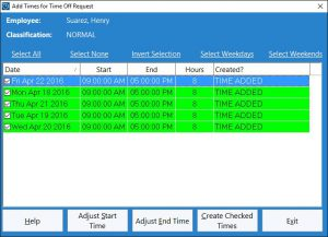 This screen is used by the administrator to add time punches for an approved time off request.