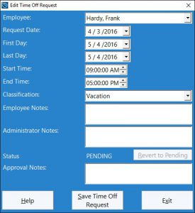 This screen is used by the administrator to add a new time off request or edit an existing one.