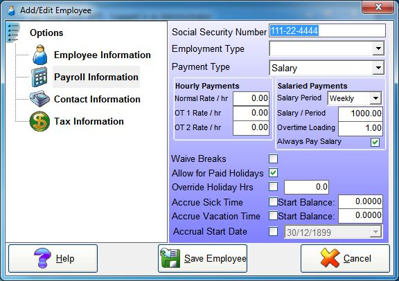 Setting up a Weekly Salaried Employee