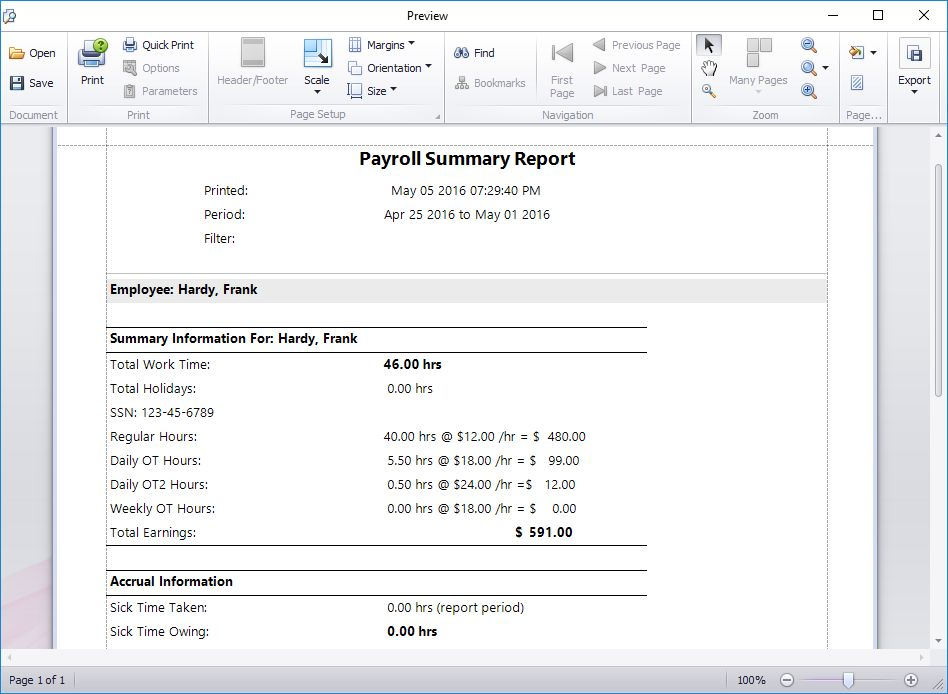 Overtime Rate 2 Report Date in Payroll Summary Section