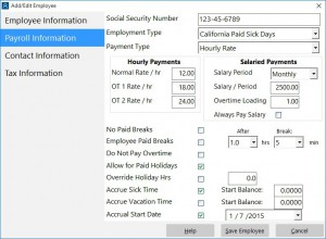 Payroll Information - Set Accrual Start Date