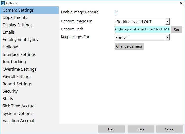 Capture employee images when they punch in or out.