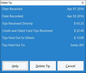 This screen is used to delete an employee tip