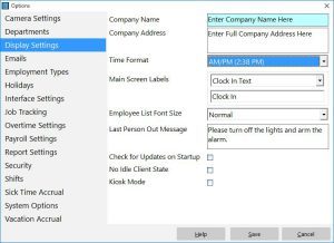 Setup the basic report display settings and time format settings here.