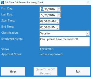 Employees use this screen to add a new time off request or edit an existing one.