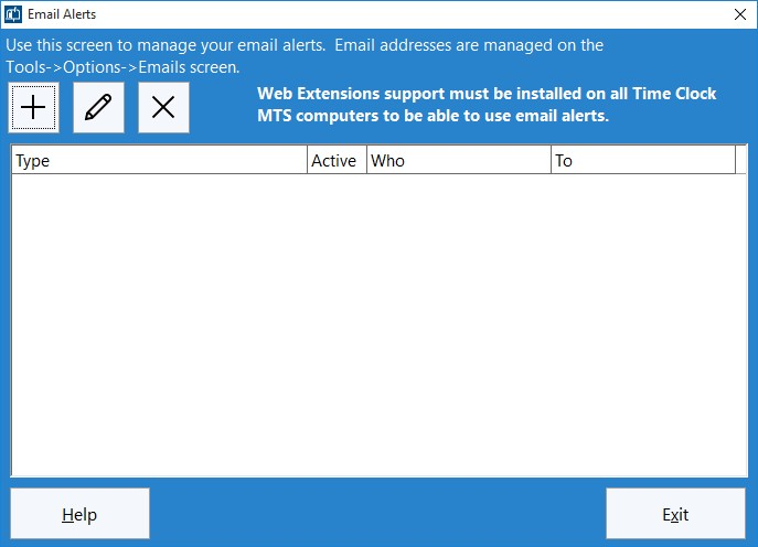 Figure 1 - The Manage Emails Alerts Screen