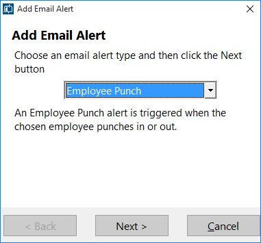 Figure 2 - Adding an Email Alert