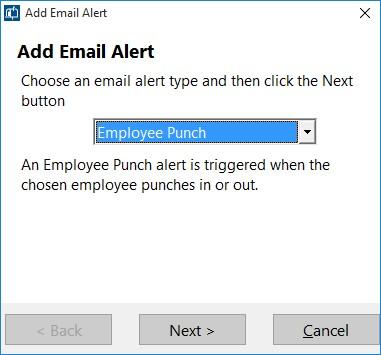 Figure 2 - Adding an Email Alert