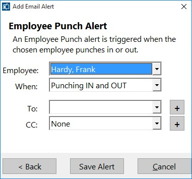Figure 3 - Adding an Employee Punch Email Alert