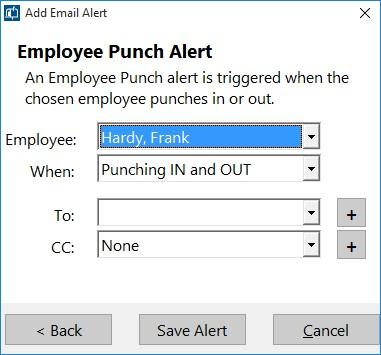 Figure 3 - Adding an Employee Punch Email Alert