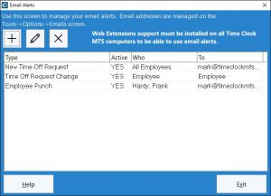 This screen is used by the administrator to manage email alerts.