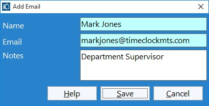 Figure 4 - Adding Department Supervisor Email