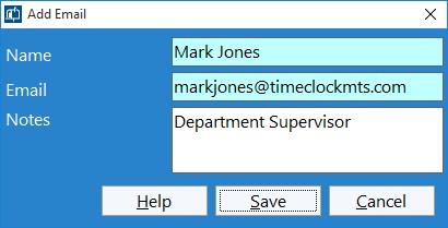 Figure 4 - Adding Department Supervisor Email