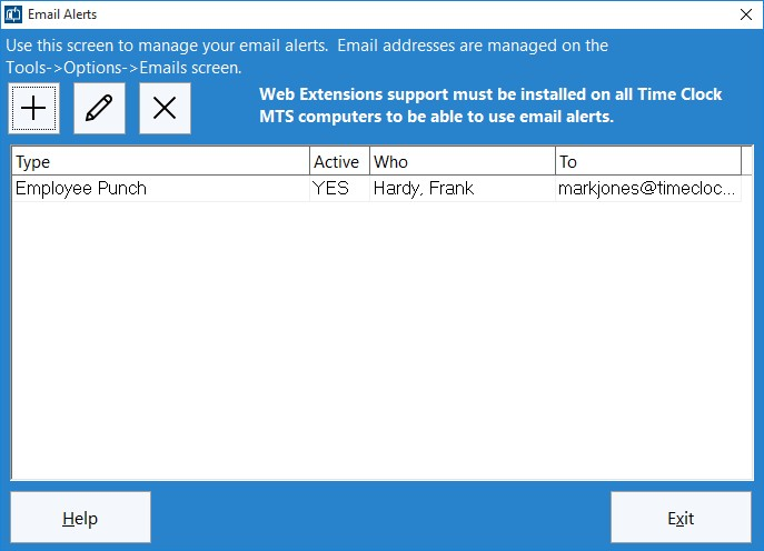Figure 7 - New Alert on Manage Alerts Screen