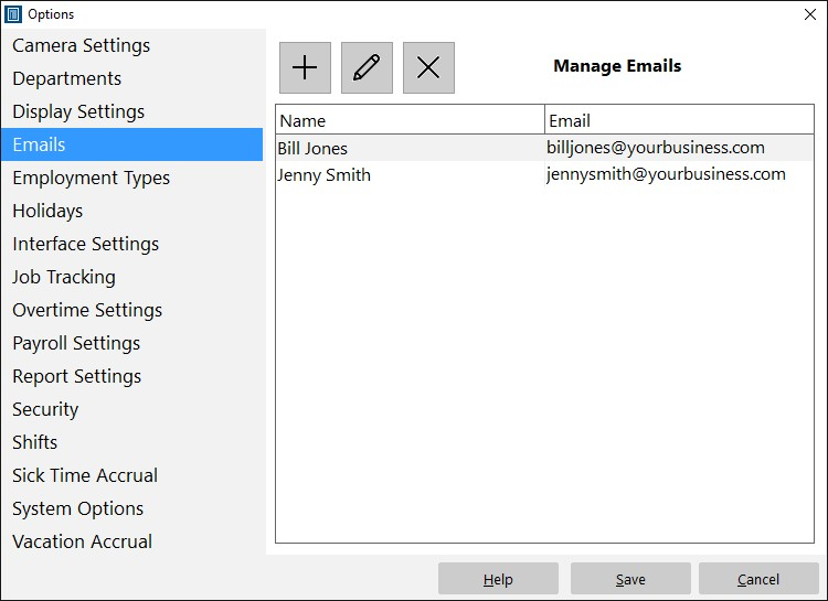 The Manage Emails Screen