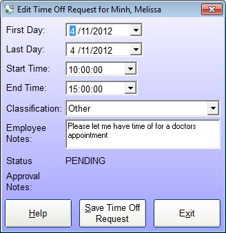 Employee Time Off Request Screen - used by the employee to add a new time off request or edit an existing one