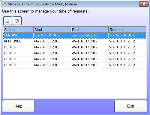 Employee Manage Time Off Requests Screen - used by the employee to manage their time off requests