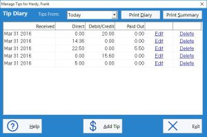 The employee tip diary is used to enter employee tips here as well as view tip diary reports.