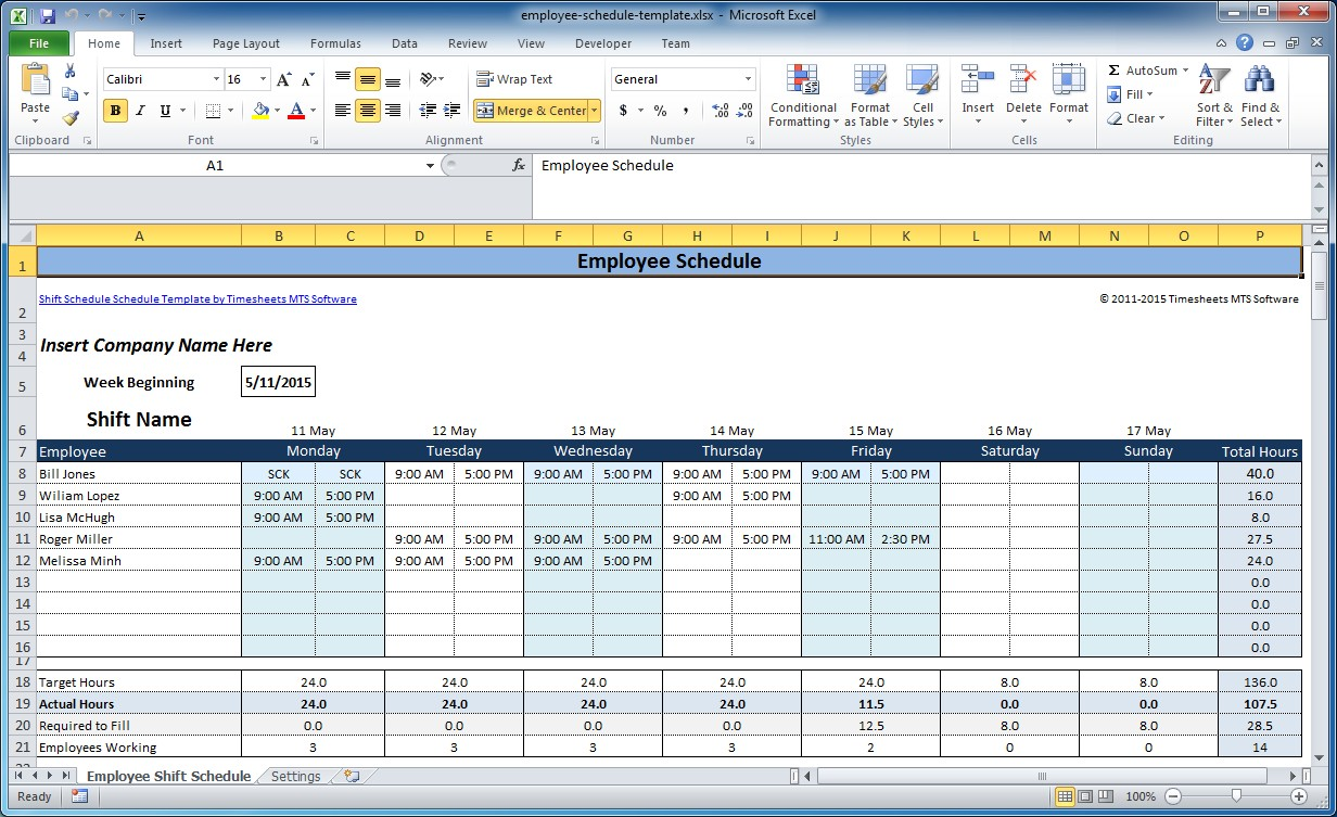 Free employee and shift schedule templates for Hourly employee schedule template