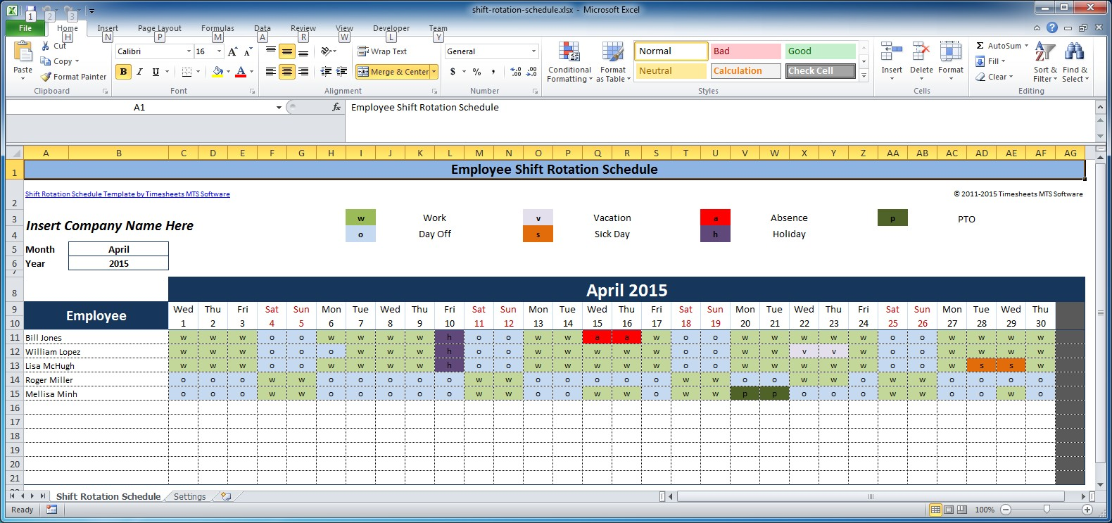 schedule in excel template