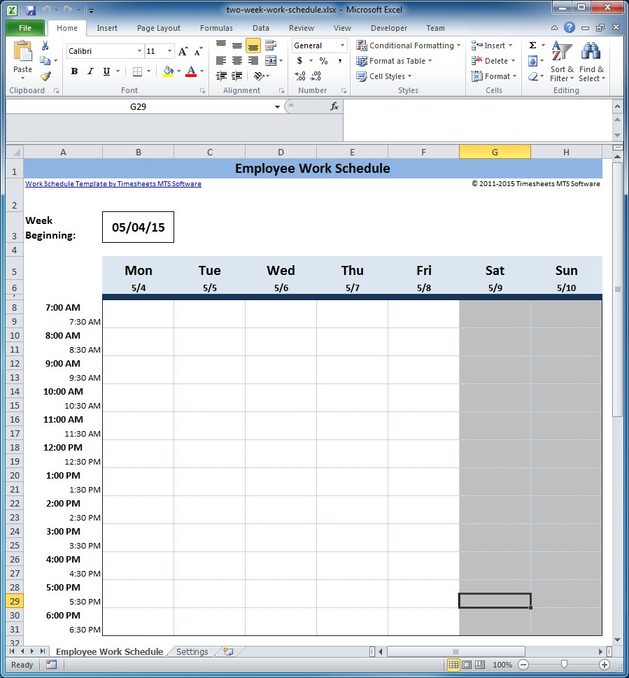 work schedule excel