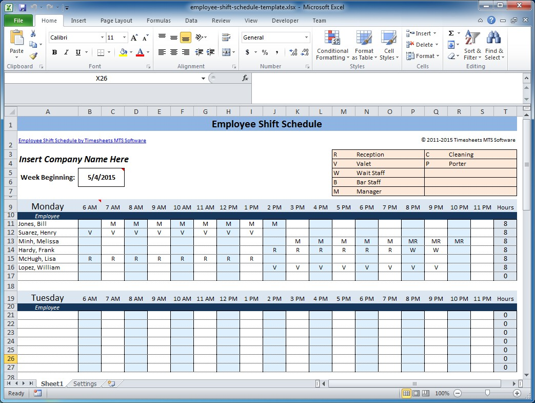 weekly employee shift schedule template excel  Free Employee and Shift Schedule Templates