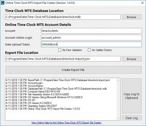 Exporting Time Clock Mts Data To Online Time Clock Mts