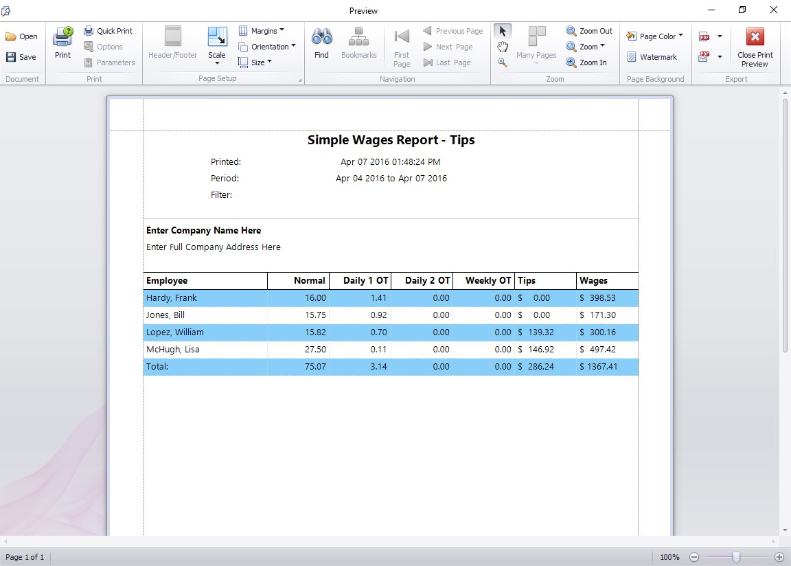 The Simple Wages - Tips Report