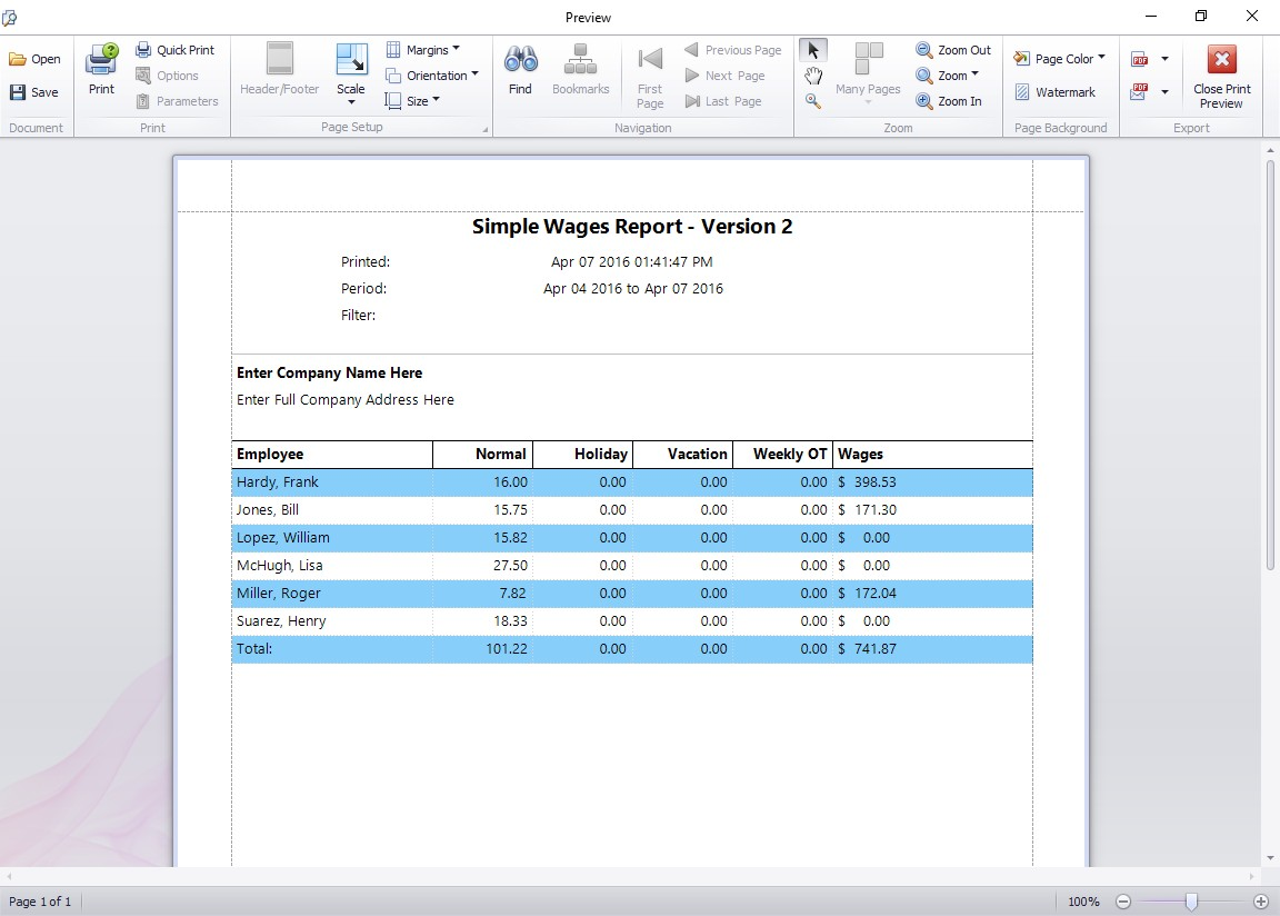 Simple Wages Report Version 2