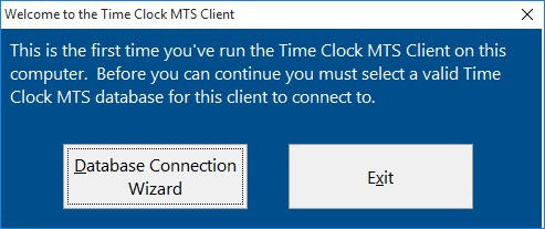 First Time Running the Time Clock MTS Client