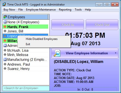 Hiding Disabled Employees in Time Clock MTS