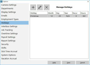 Define and track recurring and one off holidays.
