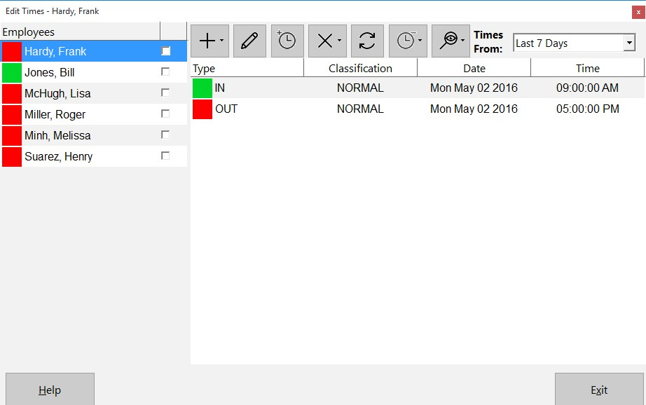 Figure 1 - Missing Punch on Edit Times Screen