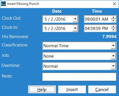 Figure 2 - The Insert Missing Punch Screen
