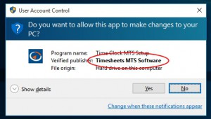 The warning message may vary but the file is safe to open and run if it is signed by Timesheets MTS Software (us!).