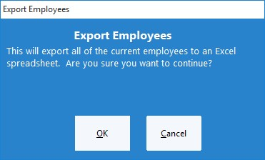 Figure 2 - Confirm Export Employees Action