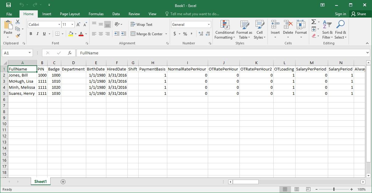 Figure 3 - Exported Employee Data