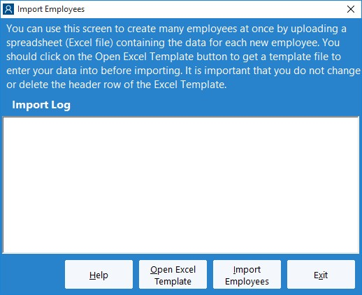 Figure 7 - The Import Employees Screen