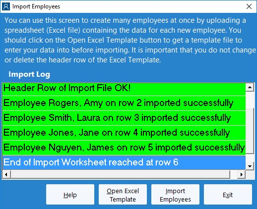 Figure 8 - Import Employees Complete