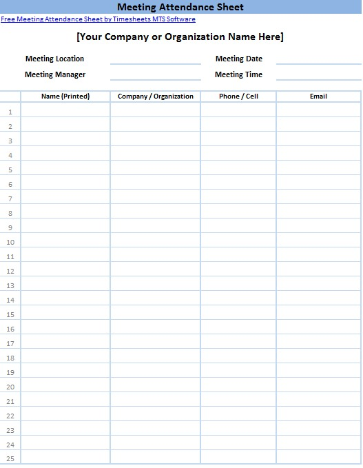 Sign In Sheet Meeting Attendance Form Printable Sign In Sheet