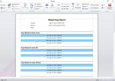 Missed Days Report