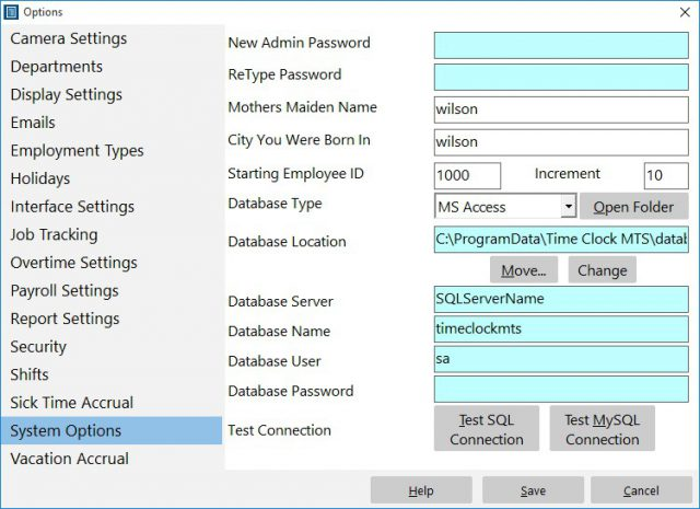 Figure 1 - The System Options Screen