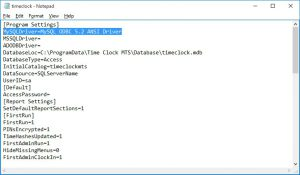 Time Clock MTS setting for the 5.2 ANSI Driver