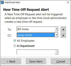 The New Time Off Request alert is raised when an employee places a new time off request.