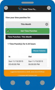 Online Time Clock MTS on a smartphone