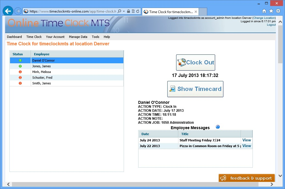 Online Time Clock MTS on Windows 8