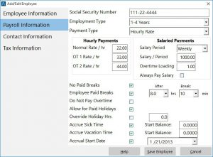 Configure pay rates, overtime, and sick and vacation accrual.