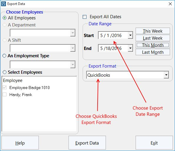 The Time Clock MTS Export Data Screen